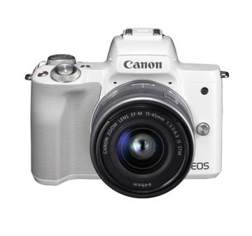 图片 佳能相机EOS M50 套机(白)EF-M15-45MM F/3.5-6.3 IS STM 含128G摄录卡、防雨摄影包、三脚架、备用电池/ 一年保修